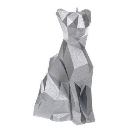 Candellana - Cat Low Poly Candle - Silver